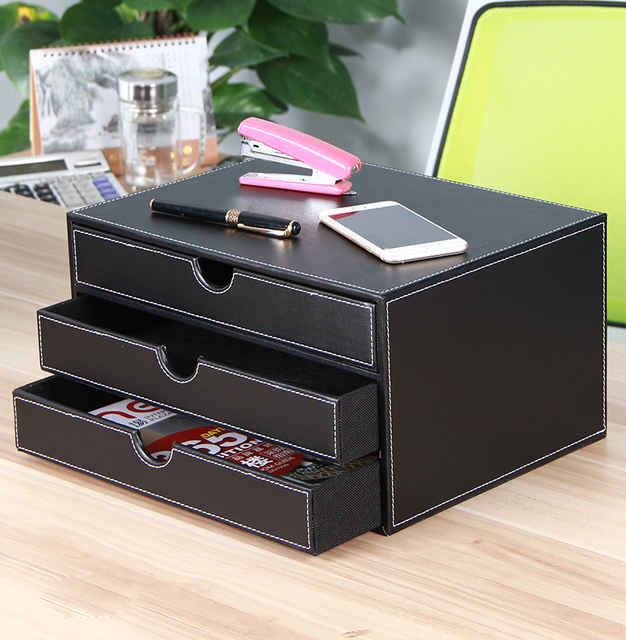 Yuppie leather three desktop file cabinet official layer storage cabinet office supplies storage box drawer type & Yuppie leather three desktop file cabinet official layer storage ...