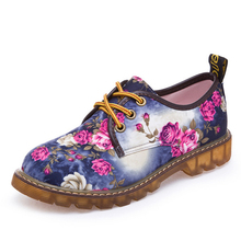 2016 Spring Floral Printed Canvas Antiskid Women Shoes Casual Ladies Lace Up Flat Shoes Woman Factory Outlet