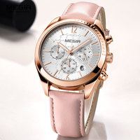 Megir Women's Luxury Dress Watches Leather Chronograph Quartz Wrist Watch Woman Lady Relogios Clock Top Brand 3Bar 2115 Pink