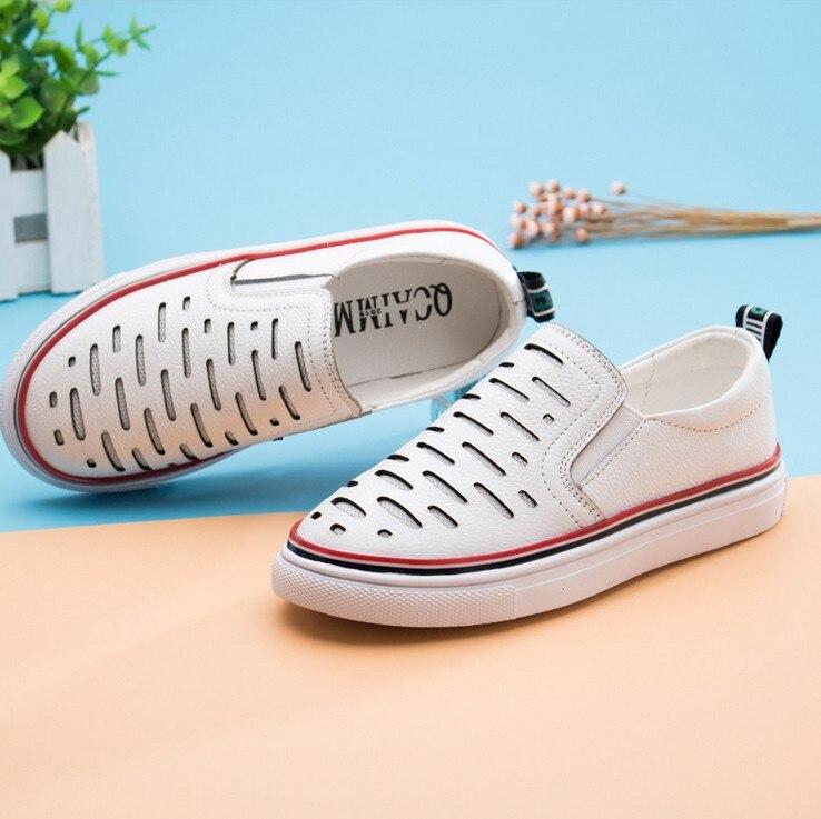 Лето 2016 Новинка; Одежда для мальчиков и девочек повседневная кожаная обувь для детей средних и малых ярдов плоские туфли студенческие