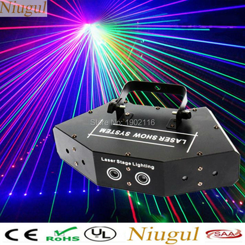 Niugul Fan-shaped six-eye scanning RGB laser light for DJ disco club stage effect light sound 6 lens Full color laser lighting