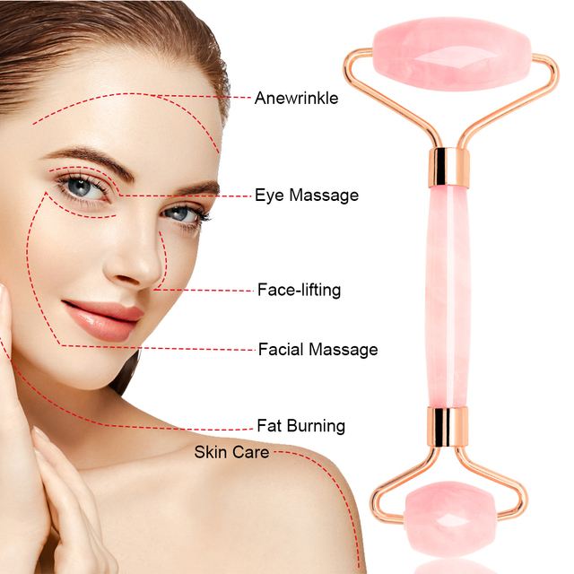 Dropshipping Jade Roller Face Massager Rose Quartz Face Roller Massage Stone Gua Sha Pink Facial Rollers Slimming Lift Skincare 2
