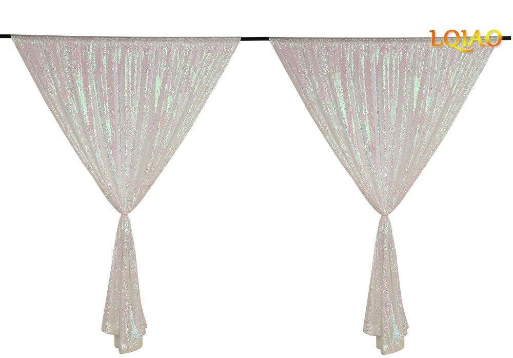 Telón de fondo de cortina de lentejuelas 2 paneles 4x7ft brillante iridiscente blanco cortina telón de fondo decoración de boda de Navidad-in Trasfondos para fiestas from Hogar y Mascotas    1