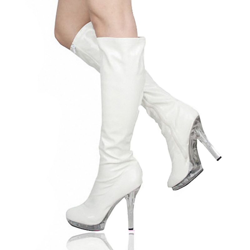 Platform Mid Calf Boots Women Shoes Transparent High Heels Crystal Fenty Beauty Boots Black Fashion Zip Ladies Boots Plus Size