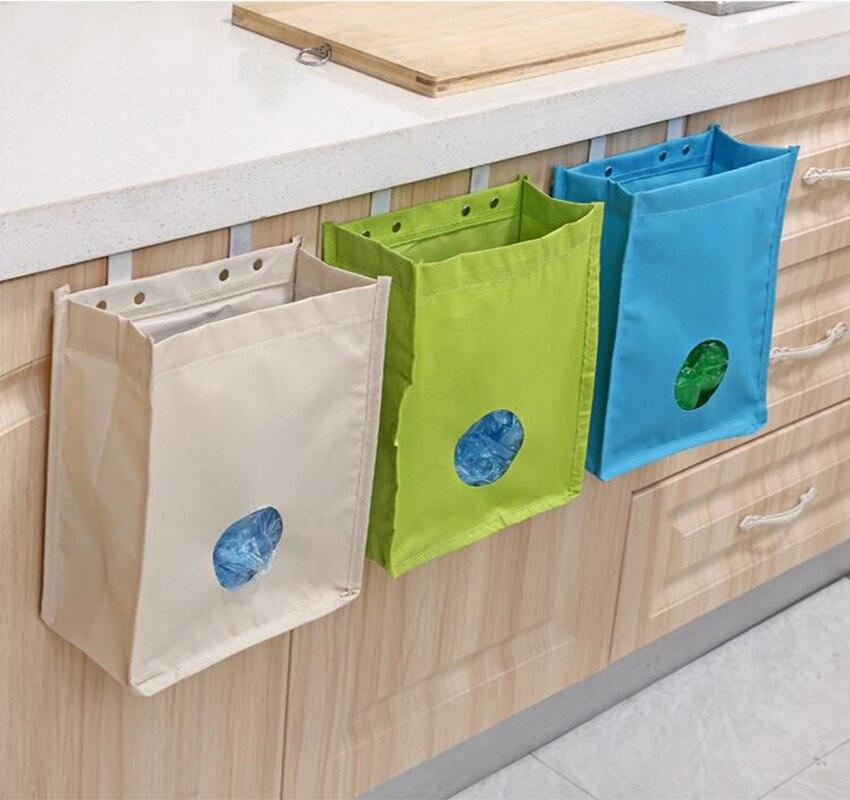 Hanging Mesh Garbage Bags Storage Packing Bag Organizer For Kitchen Storage Oxford Cloth Bag Kitchen Finishing Organizers