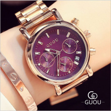 GUOU Women's Watches Fashion Calendar Ladies Watch Women Watches Rose Gold Strap Watch Clock relogio feminino reloj mujer saat