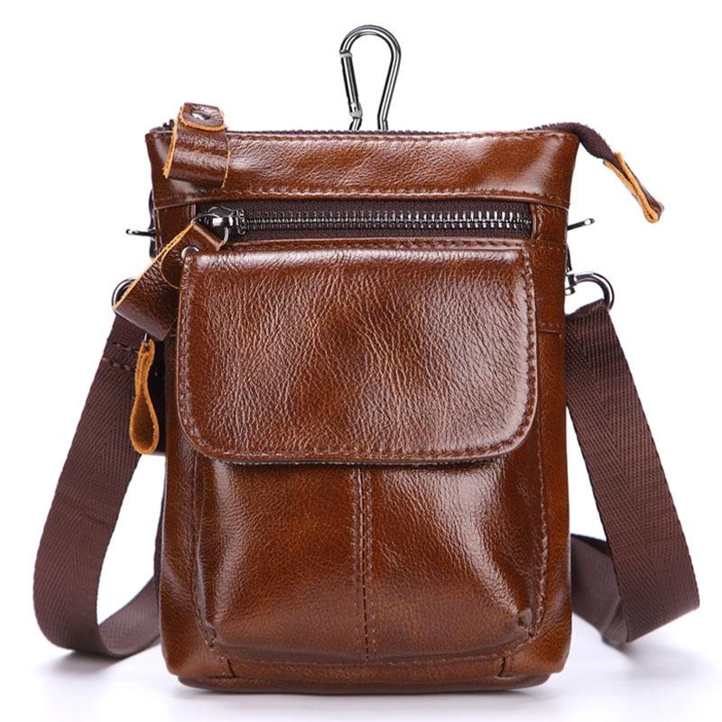Genuine Leather Mens Waist Packs with Belt Hock Fanny Pack Crossbody Sling Phone Bag