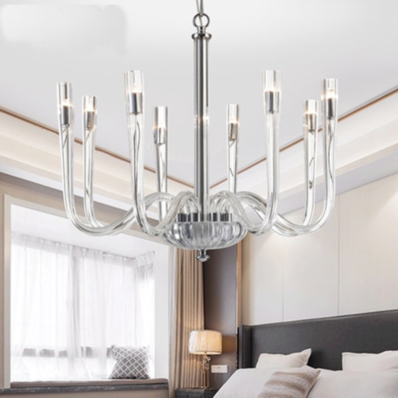 Post-Modern LED glass Chandeliers Contemporary lights sinple lamp Antique Clear Glass Chandelier Flush Mounted Chandelier Lights square corners hanging antique copper 2 candelabra sockets clear glass