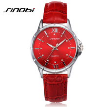 SINOBI 2017 Fashion brand leather strap Diamond quartz women watches women ladies dress watches Female Casual Gold Watches L15