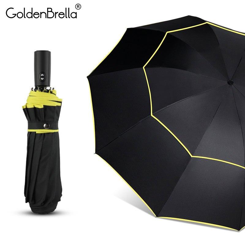 Nouveau grand 120 cm entièrement automatique parapluie hommes pluie femme Double couche 3 pliant Business cadeau parapluie coupe-vent parapluies voiture