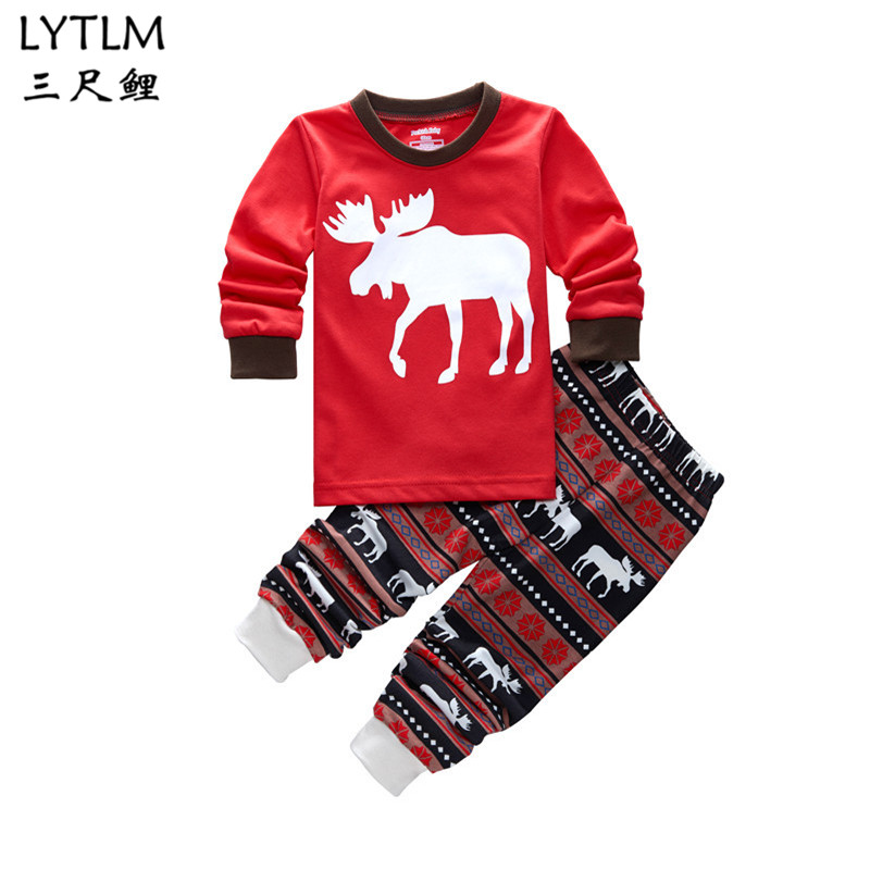 LYTLM Toddler Babies Christmas Clothes for Kids Baby Boy Girl Clothing Infant Sweatshirt +Pants Causual Sports Suit 100% cotton