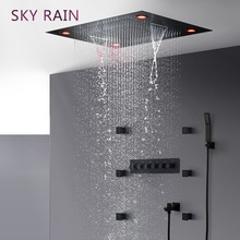 SKY RAIN Bathroom Matte Black Luxury Shower Head High Flow Thermostatic Valve Multi Function SPA LED Set