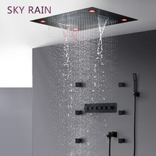 SKY RAIN Bathroom Matte Black Luxury Shower Head High Flow Thermostatic Valve Multi Function SPA LED Shower Set(China)