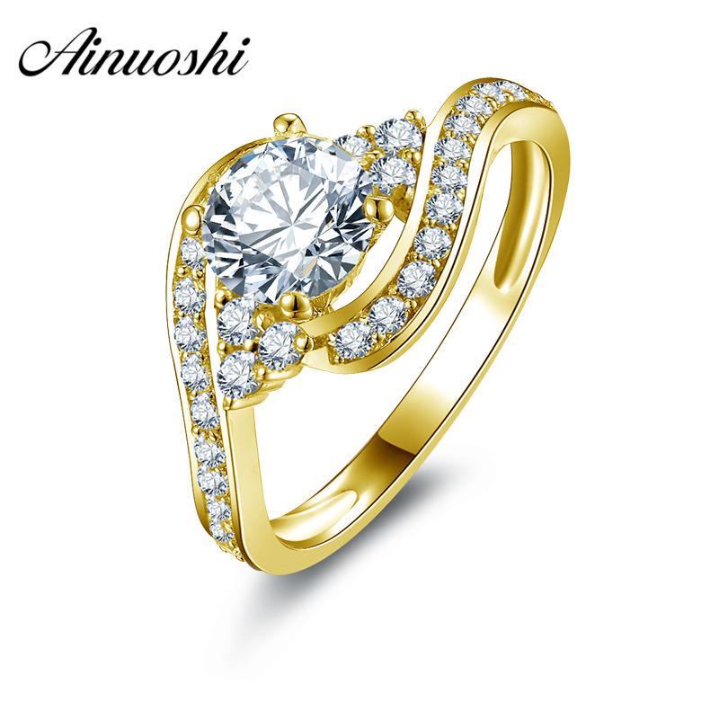 AINUOSHI 10k Solid Yellow Gold Lovers Promise Ring Band with 0.8 ct Round Cut CZ for Women Wedding Twist Bague Gold Jewelry open secret
