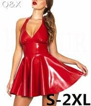 7c8552ca1860e XX48 Sexy PVC Faux Cuir Robe Rouge Brillant 2017 Licou Sans Manches Catsuit  Érotique Bondage Robe Plissée Clubwear Costume S-XXL