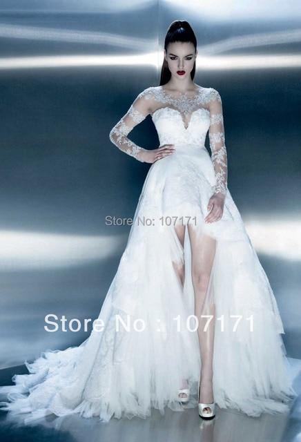 diseñador de encaje de tul de manga larga vestido de boda trasero