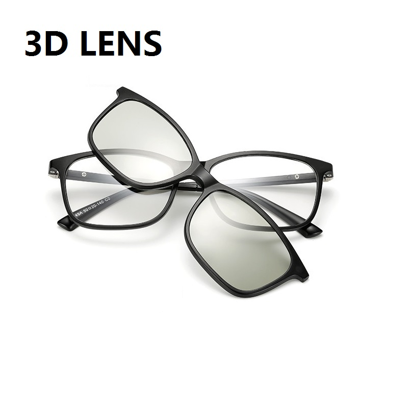 width 133 eyewear magnetic clip TR myopia eyeglass frame with clip on three Polarized Sunglasses Goggles combination 3D lenses in Men 39 s Eyewear Frames from Apparel Accessories