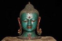 Коллекционные Тибетский Буддизм старый ручной Медь инкрустированные бирюзовый Будда Шакьямуни голова Маска Статуя