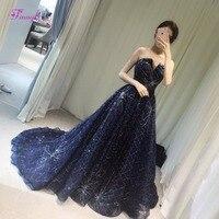 Fmogl Romantic Strapless Sequined Robe de Soiree A Line Long Evening Dress 2018 Fashion Royal Blue Formal Party Gown Plus Size