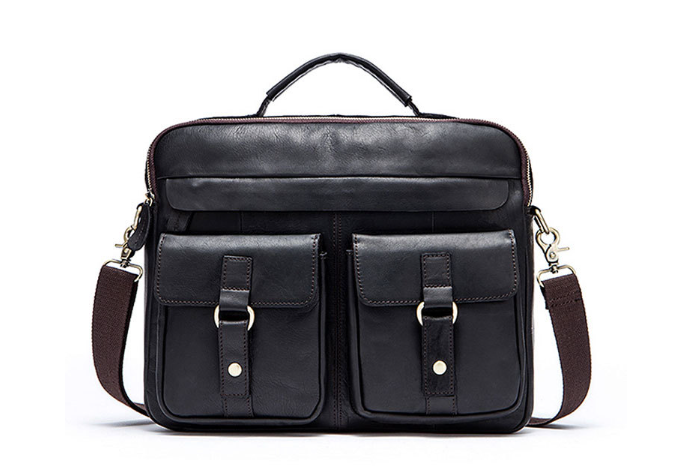 New Crazy Horse Genuine Leather Men Business Briefcase Bag Casual Shoulder Bag Large Capacity Messenger Bag Mature HandbagL103 new men s crazy horse genuine leather messenger shoulder pack documents business portable clutch bag portable wrist bag