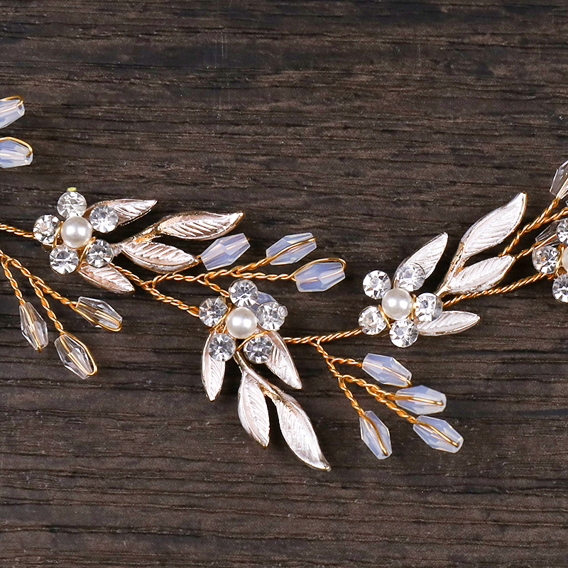 Vintage Gold Ornaments Leaves Rhinestone Flower Hairbands Wedding Hair Accessories