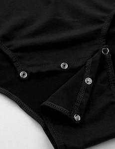Image 5 - Mens Sexy Bodysuit Manga Curta Turn down Collar Snappies Camisa Virilha Bodysuit Romper Cueca