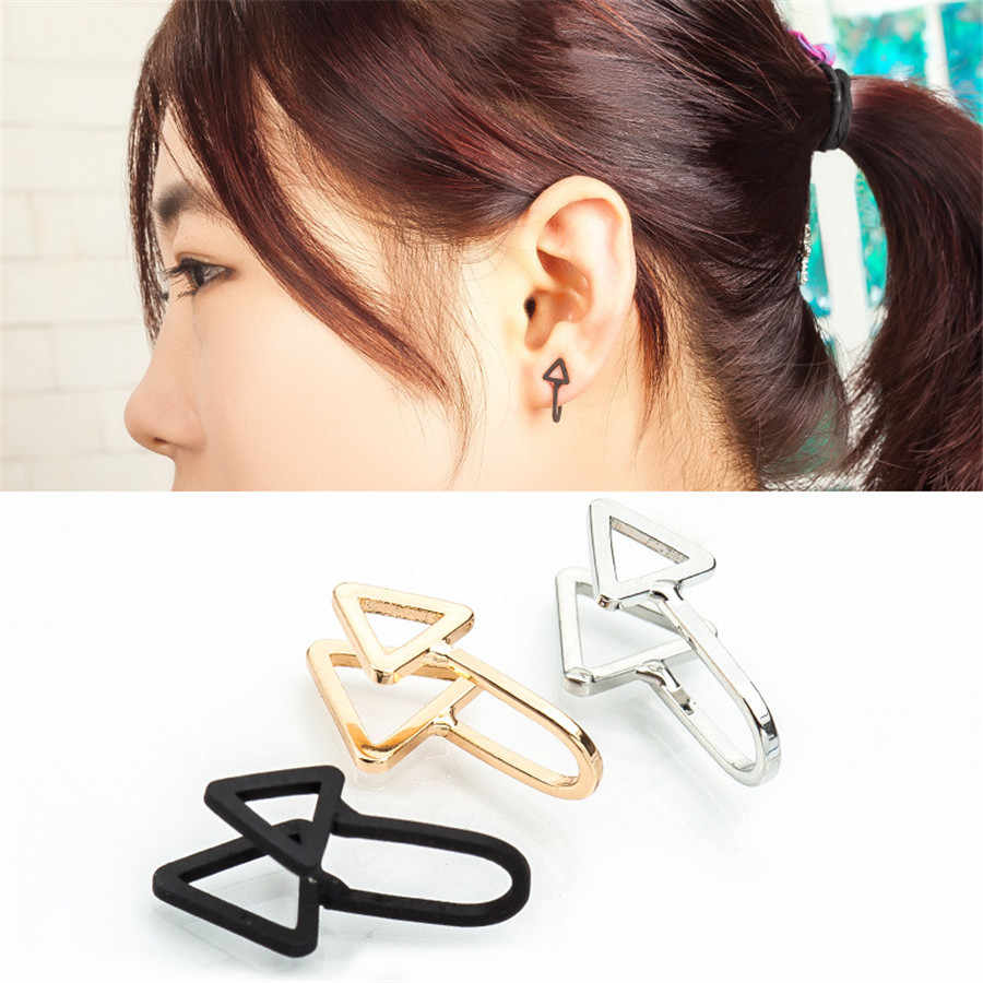 SexeMara 1pc New Fashion Ear Cuff Clip Earring No Piercing Clip On Triangle Cartilage Clip Earring DIY Settings Vintage Jewelry