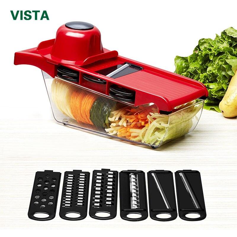 Myvit cortador de verduras con hoja de acero mandolina Slicer Manual Potato Peeler zanahoria queso rallador Dicer cocina Accesorios