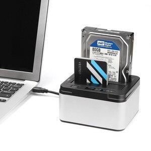 Image 5 - Estación de acoplamiento de disco duro externo con función de clon, USB 3,0 a SATA, de doble bahía de aluminio, para HDD SSD de 2,5 pulgadas y 3,5 pulgadas