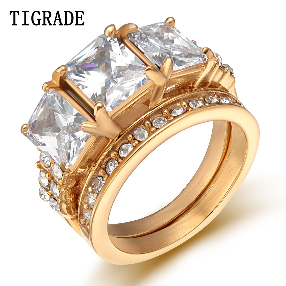 Tigrade ouro prata aço inoxidável anel conjunto feminino pavimentado zircão cristal nupcial jóias romântico noivado anéis de casamento anel anel anel anel anel anel anel