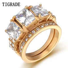 TWO Stainless Steel Rings Women Crystal Bridal Ring Wedding Accessories Trendy Engagement Jewelry engagement rings for women wedding jewelry big crystal stone ring stainless steel jewelry