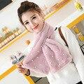 Мода женщина мягкие шарф осенью и зимой шарфы Г-Жа Перл аксессуары тонкой имитацией кролика длинный мех 100 см шарф