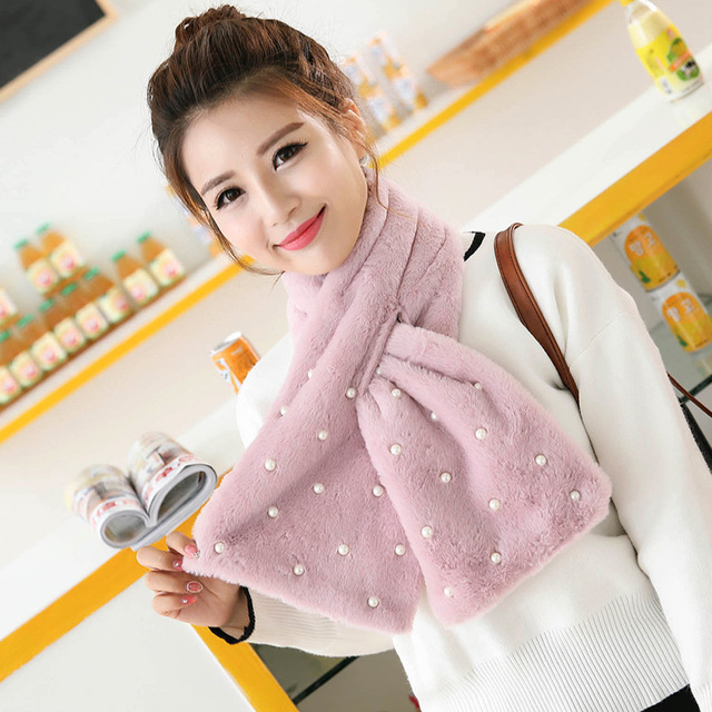 Fashion woman stuffed a scarf autumn and winter scarves Ms. Pearl accessories fine imitation rabbit fur long fur 100cm Scarf
