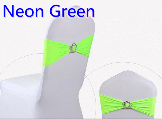 Neon Green Colour Spandex Chair Sashes Wedding Chair Sash With Crown Buckles Lycra Stretch Wedding Chair Sash Party Hotel Show
