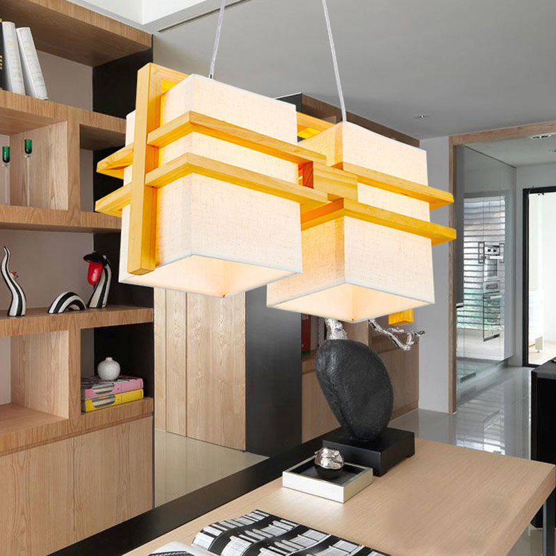 Lights & Lighting Chinese/japan/korea Style Simple Cloth Wooden Pendant Lights For Restaurant Dining/living Room Pendant Lamp Lighting Fixture