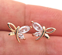 New Dragonfly Earrings for Women Gold Color Hollow Stud Earring with CZ Zircon Trendy Jewelry for Engagement Anniversary Gift(China)