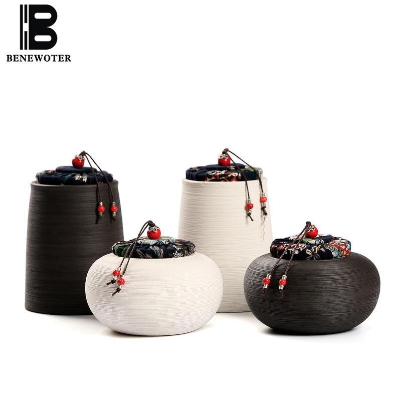 Noir Zen Style japonais Vintage poterie grossière thé Caddy en céramique scellé pot maison stockage bouteille thé Caddies accessoires de cuisine