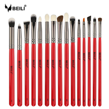 BEILI 15stk. Eye Makeup Brush Set Red Handle Goat Hair Pony Syntetisk Eye Blending Shadow Eyebrow Eyeliner Contour Crease