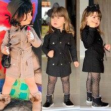 Осенний плащ для маленьких девочек; детская одежда с длинными рукавами; однотонная одежда; плащ; ветровка; куртка; Верхняя одежда; парка