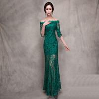 Green One word shoulder wedding dress Female Long Lace Women Cheongsam Chinese Traditional Dress Lady Qipao Evening Party Dress