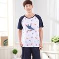 2017-мужская papercranes шаблон Синий цвет летние Пижамы