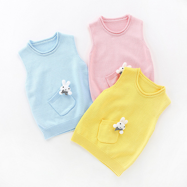 2016 New Winter Children's Clothing Girls Cotton Personality Knit Sweater Vest Baby Sweater Decorated Solid Color Spring Autumn