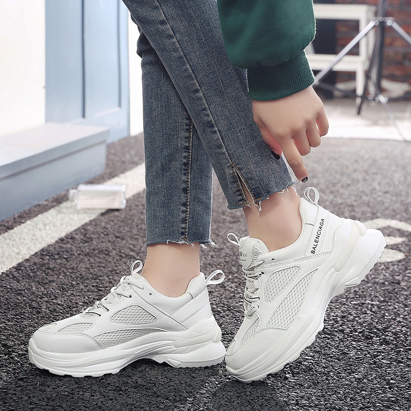 Womens Mesh Breathable Slip On Running Platform Shoes Casual Sports Sneakers