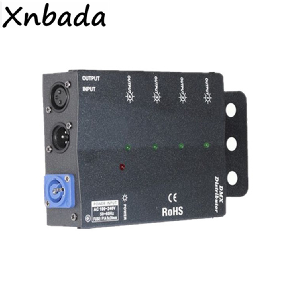 4 Channels DMX512 Stage Lights Signal Amplifier Splitter 4 Way DMX Distributor For Stage Light Equipments