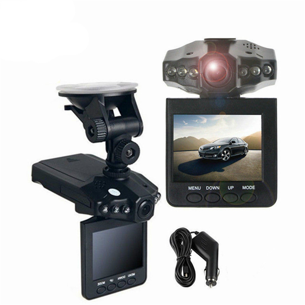 Black 2.4 Inch Car Camera DVR 270 Degrees Whirl Dash Cam LED IR Light Vehicle Road Dash Video Recorder FHD 720P Night Vision