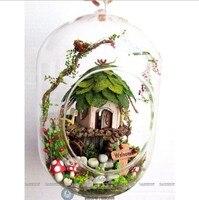 3ピースドリームジャングルティムミニチュアドールハウスガラスボール林木ドールハウス手ハウジングでledライト卸