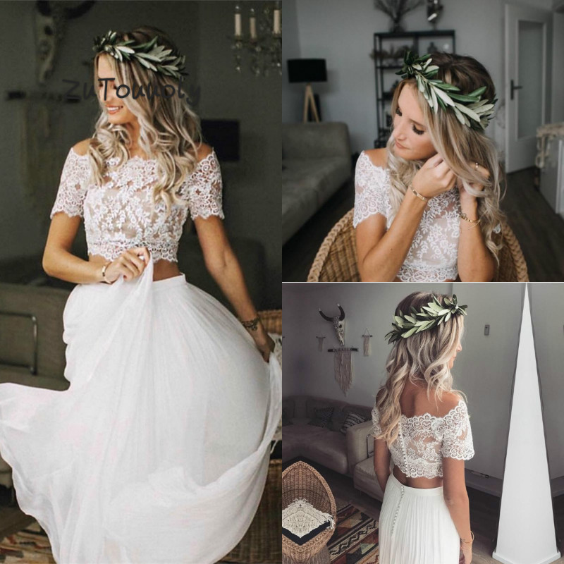 Arabic Wedding Dress Two Pieces Boho Wedding Dress With Short Sleeves Chiffon Flowing Bohemian Beach Wedding Dresses Crop Tops