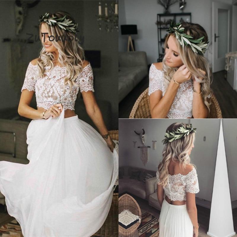 Modest Two Piece Boho Wedding Dress With Short Sleeves Chiffon Flowing Bohemian Beach Wedding Dresses Crop Top Vestido De Novia