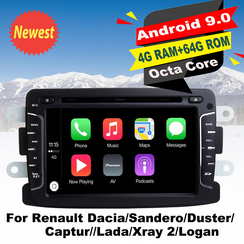Unterstützung Apple Carplay Android Autoradio DVD GPS Navi multimedia Player Für Renault Dacia/Sandero/Duster/Captur /Lada/Xray 2/Logan