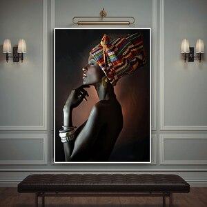 Африканская Обнаженная женщина индийский портрет повязки на голову, холст, живопись, плакаты и принты скандинавские настенные художественные картины для гостиной